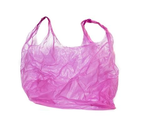 recyclage plastique: rose sac en plastique sur fond blanc Banque d'images