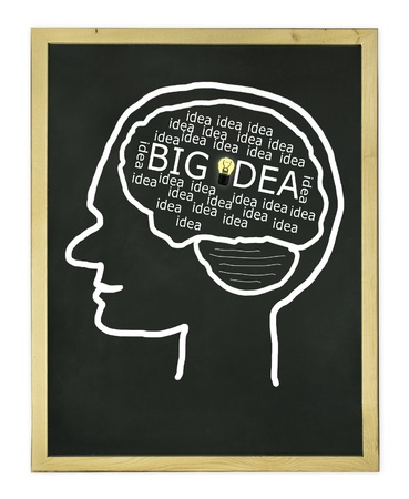 thinking process for big idea on blackboard Stock Photo - 11272261