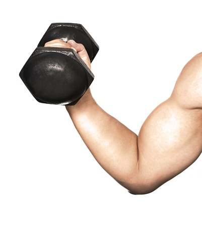 biceps curl oefening over witte achtergrond