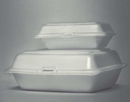still life of two foam boxes