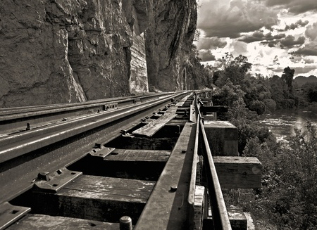 chasm: bridge on the river in west of thailand (death railway)