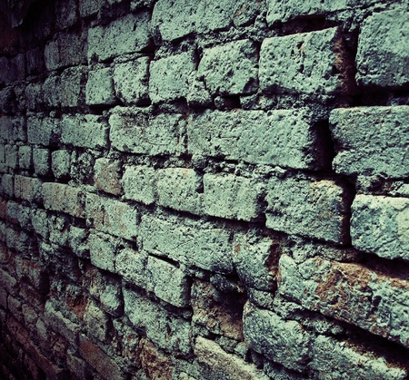 dark old brick wall with grunge texture photo