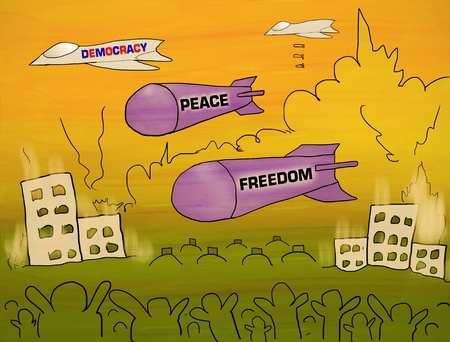Bombs are peace and freedom from Democracy Stock Photo - 12930063