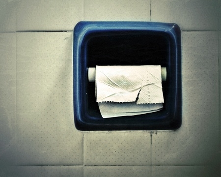 last tissue paper in old toilet Stock Photo - 13507726