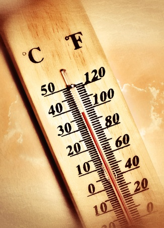extreme heat: hot temperature summer   thermometer and cloud   Stock Photo