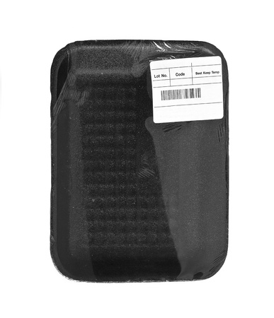 black food tray with label over white Zdjęcie Seryjne
