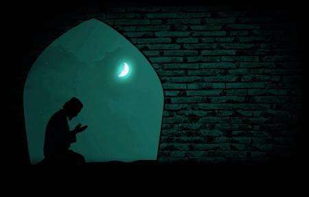 muslim praying at night under the moon