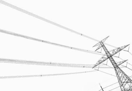 Słup energii elektrycznej na białym tle