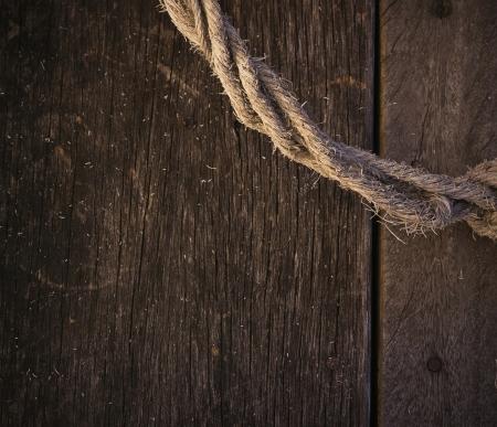 fixed line: cuerda vieja de la textura de madera Foto de archivo
