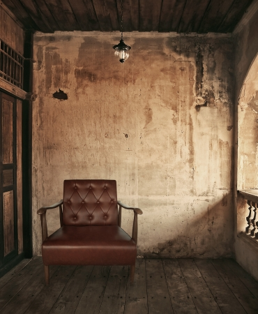 chair in old grunge room photo