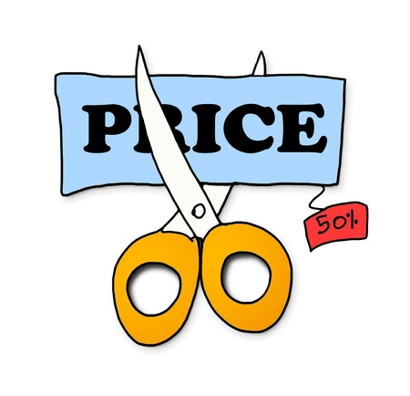 price cut: scissors cut price tag on white background