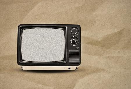vintage tv on paper background