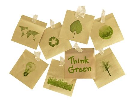 onderwerpen op bezorgdheid over het milieu op post-it Stockfoto