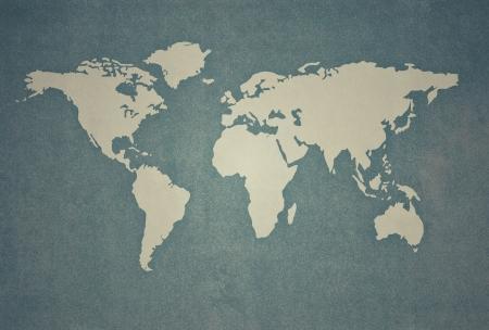 getextureerde van wereldkaart in vintage stijl Stockfoto