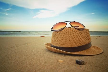 beach items on smooth sand