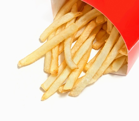 french fries in red box over white