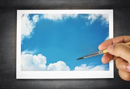 verf op de blauwe hemel Stockfoto