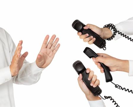 refusing: refusing answer busy phone call Stock Photo