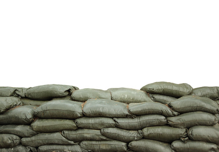 sandbags for protection with white background photo