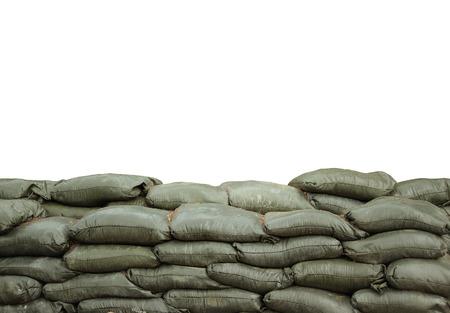 Zandzakken voor de bescherming met een witte achtergrond Stockfoto - 24572597