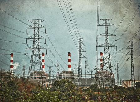 pollution and electric power plant in vintage style Stock Photo - 26962192