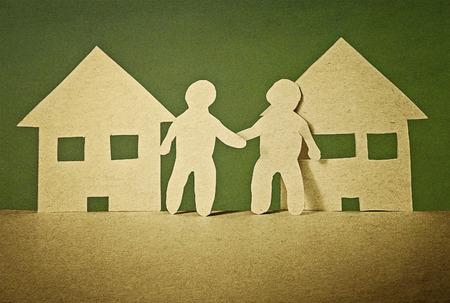 eenheid en vriendschap van de buren in vintage papier stijl Stockfoto