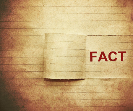 word  fact  on the paper in vintage style