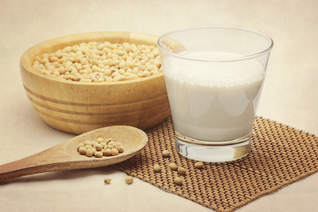 soy milk with beans in vintage style