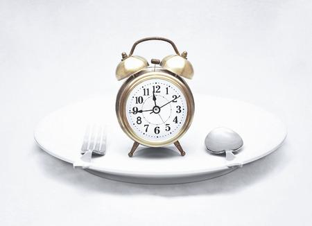 alarm clock on dish  vintage textured style