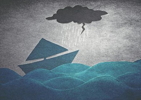 schepen in de storm (papier retro-stijl)