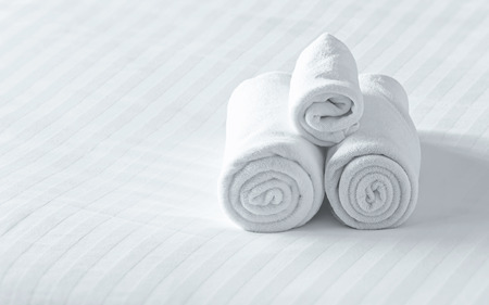 close up towels on the bed photo