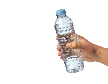 hand giving a bottle of drinking water(isolated white background) photo