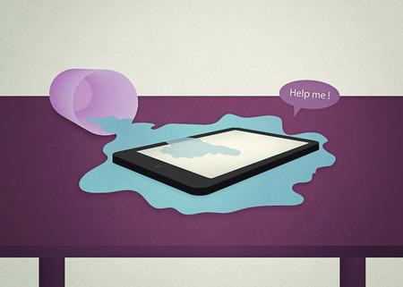 water drops on mobile device (retro effect) Standard-Bild