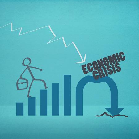 crisis economica: Hombre de negocios a pie de crisis econ�mica (estilo retro)