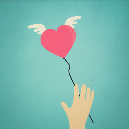 heart symbol fly in to the sky (retro style) photo