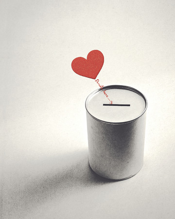 heart symbol and donation can (retro style) Banque d'images