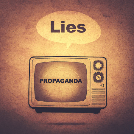 deceitful: lies and propaganda on tv (retro effect) Stock Photo