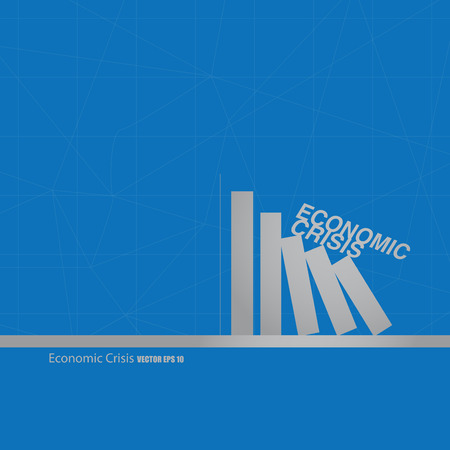 domino effect: domino effect of economic on blue background Stock Photo