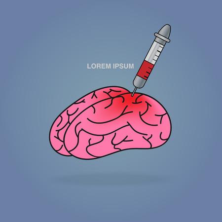 injecteren rood in roze hersenen Stockfoto