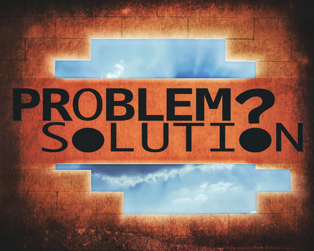 problem and solution with wall and sky background (retro style) photo