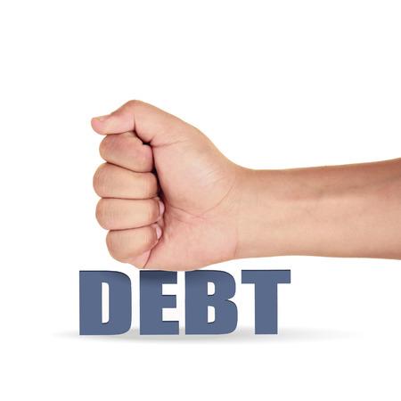 lender: hand hitting the debt over white background