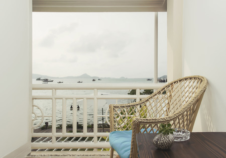 seaview: relaxation and seaview on the balcony Stock Photo