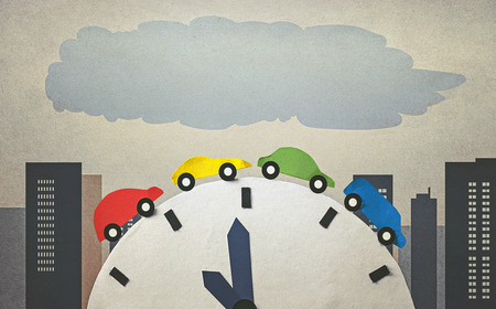 the traffic jam: traffic jam and time (retro style) Stock Photo