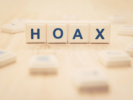 humbug: hoax word on table (retro style) Stock Photo