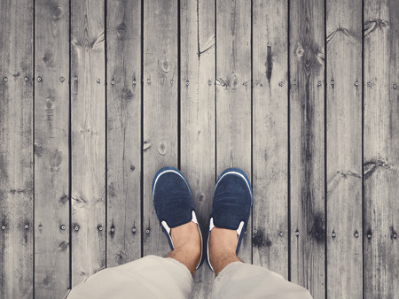 wooden shoes: top view of shoes on wooden floor Stock Photo