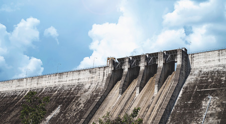compacted: the largest and longest compacted concrete dam in thailand Stock Photo