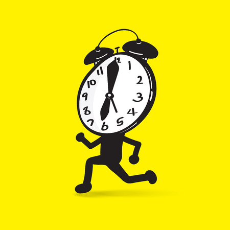 run out: time is passing, a clock character running