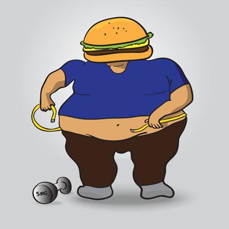 fat burger man wants to loss weight Illustration
