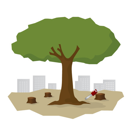 remaining: deforestation issue, the remaining tree and the city Illustration