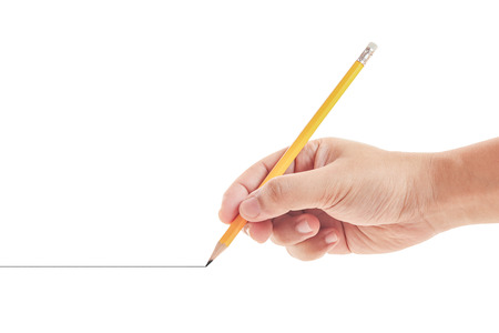 hand drawing a line on white background Stock Photo